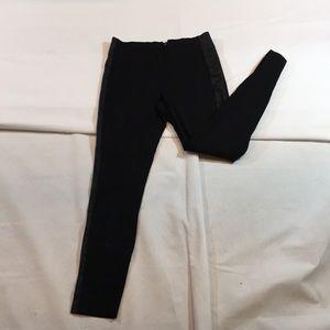 J.Crew Black Leather side stripe Stretch Pants